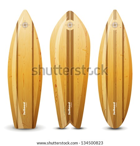 3 highly detailed wooden surf