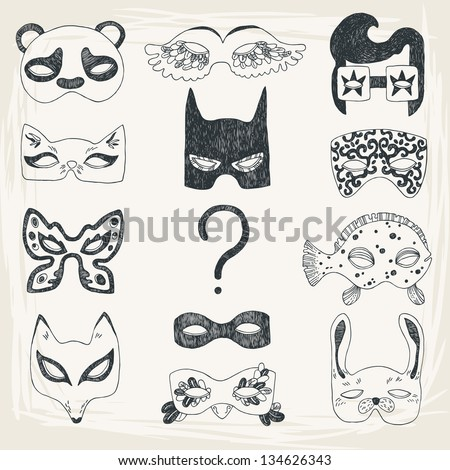 illustration of fun face masks
