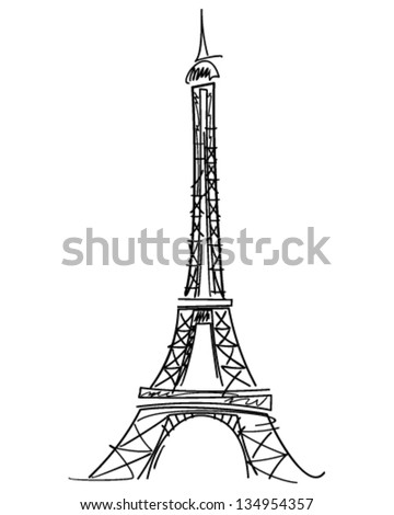 eiffel tower black vector