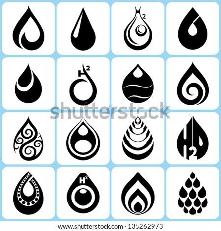 16 water drop icons set