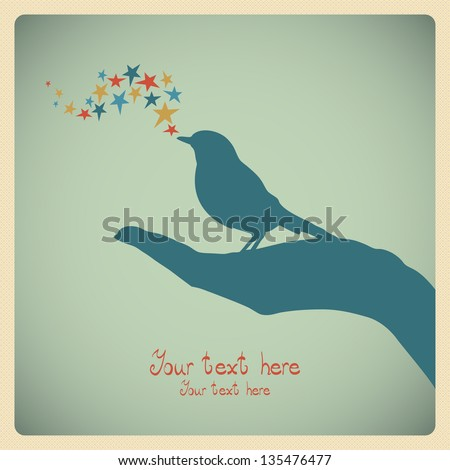 colorful card with bird in hand