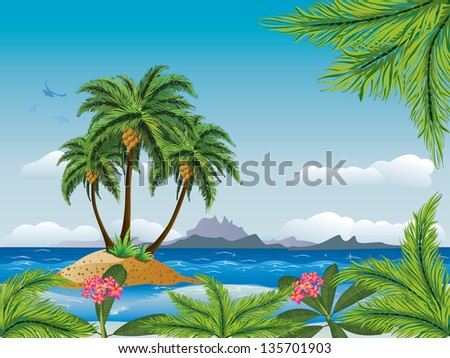 a tropical island with palm