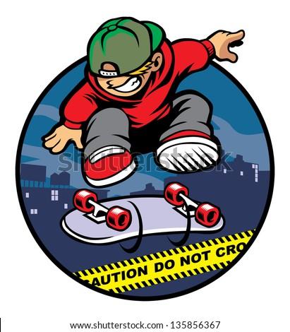 skater boy doing kickflip over