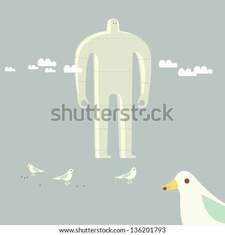 giant robot with dove birds