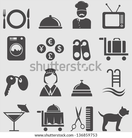 hotel icons setvector