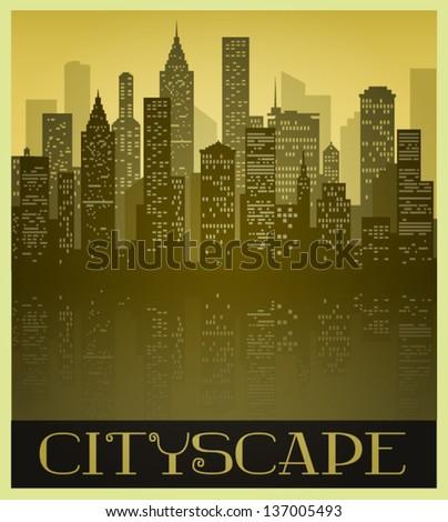 metropolitan cityscape in sepia
