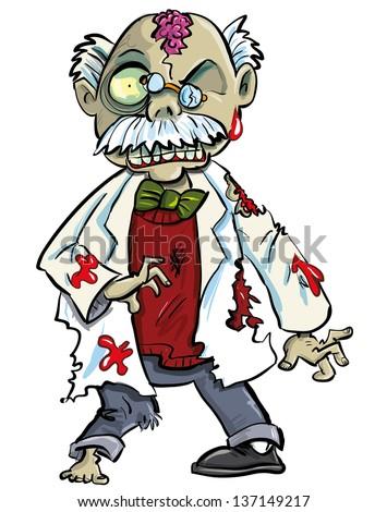 cartoon zombie scientist with