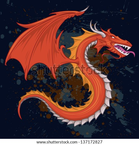 dragon tattoo vector distressed