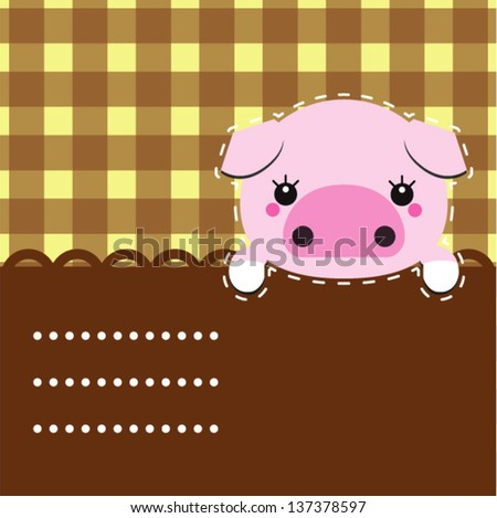 cute vector piggy place for