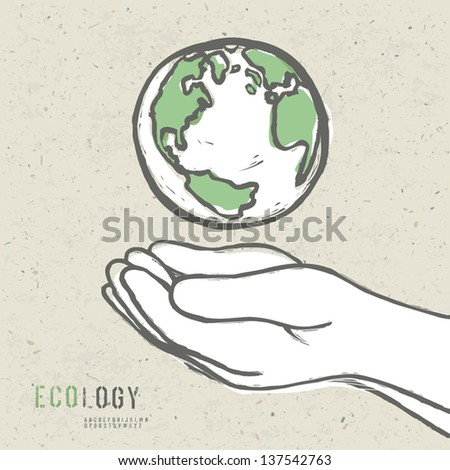 earth symbol in hands vector