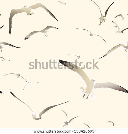 flying seagulls seamless texture