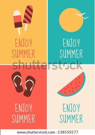 a set of four minimalist summer