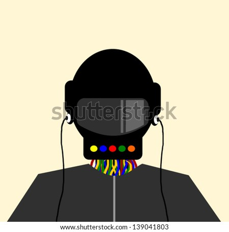 futuristic man with earphones