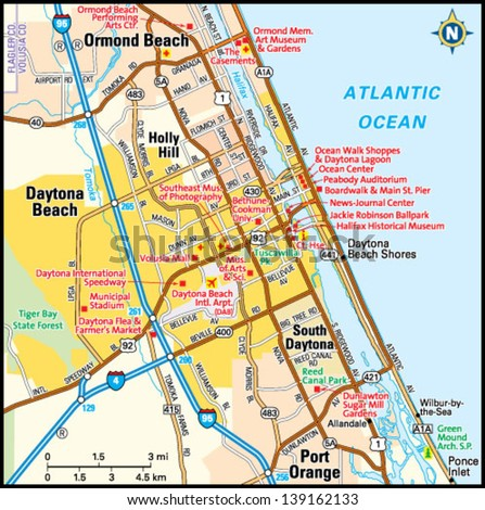 daytona beach  florida area map