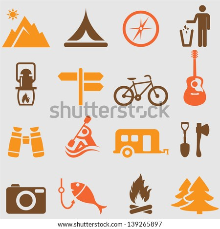 camping icons setvector