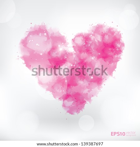 watercolor pink heart abstract