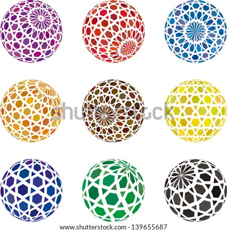 collection of hexagon sphere