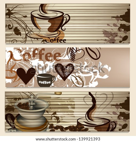 coffee  vector brochures set