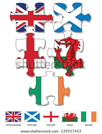 five jigsaw pieces filled with
