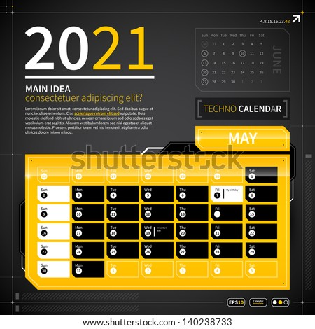 calendar template in techno
