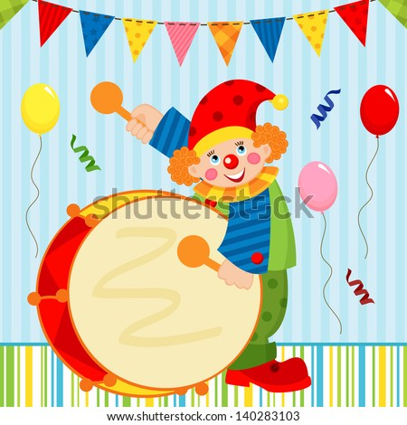 clown playing the drum