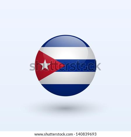 cuba round flag vector