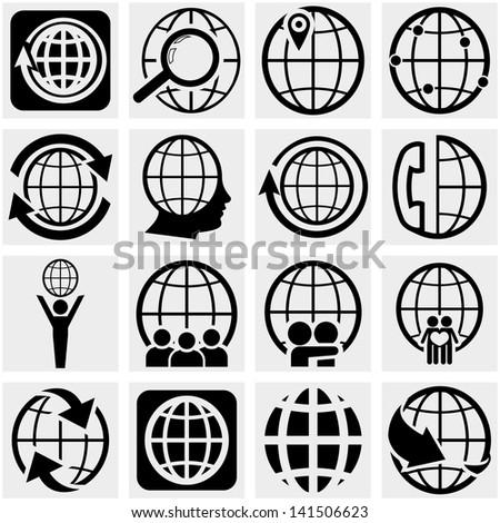 globe earth vector icon set on