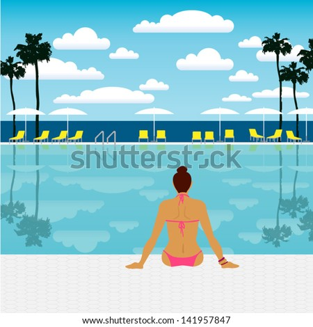 young woman sunbathing by the