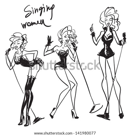 hand drawn singing women
