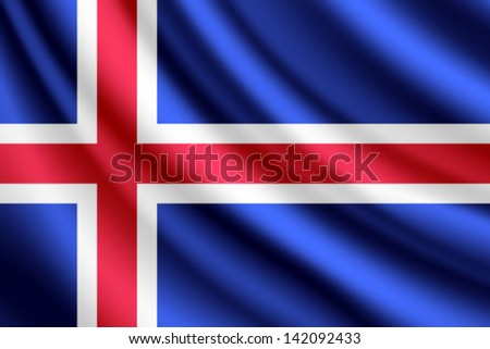 waving flag of iceland  vector