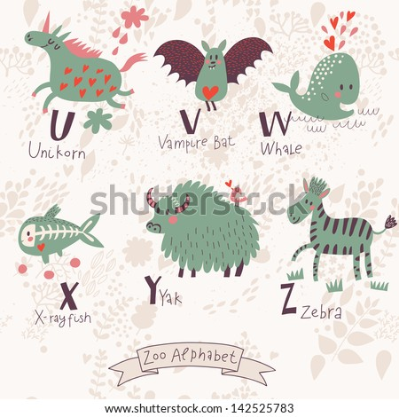 V Alphabet Images With Love alphabet in vector. U, v, w, x, y, z letters. Funny animals in love ...