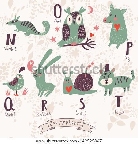 cute zoo alphabet in vector n