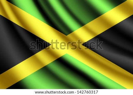 waving flag of jamaica  vector