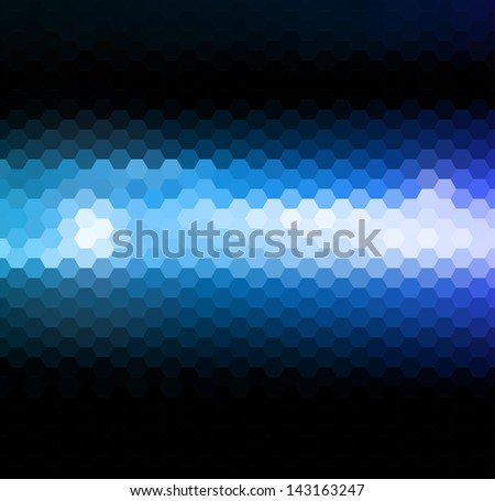 abstract blue light hexagonal