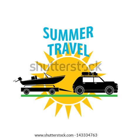 summer travel label vector