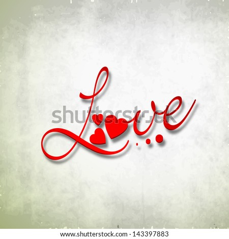 text love on grungy background