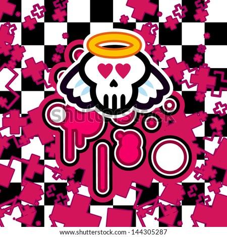 vector emo background skull