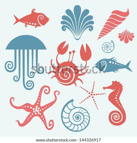 vector set of sea fauna