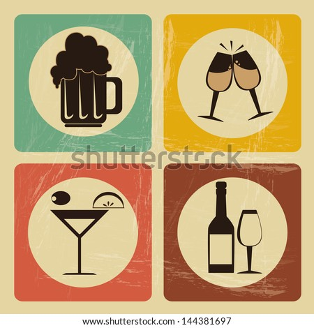 drinks icons over vintage