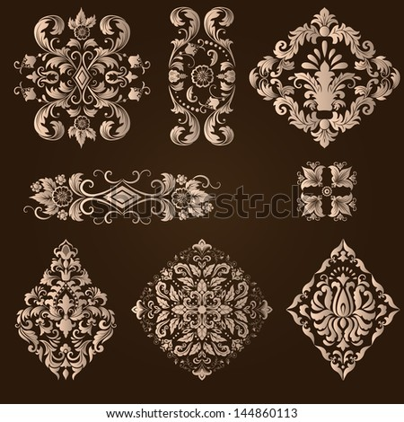 vector set of damask ornamental