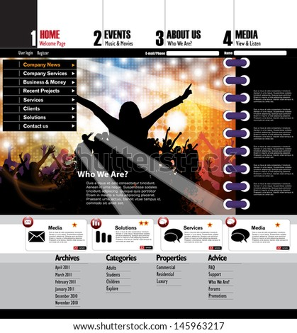 web layout with music event