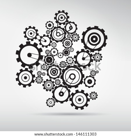 abstract vector cogs   gears on