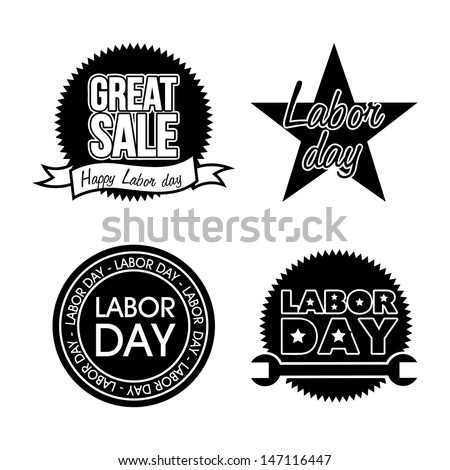 labor day icons over white