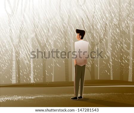 alone man vector illustration