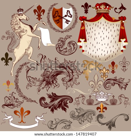 vector set of luxury royal