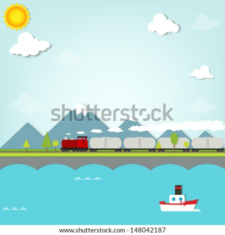 train on a background of