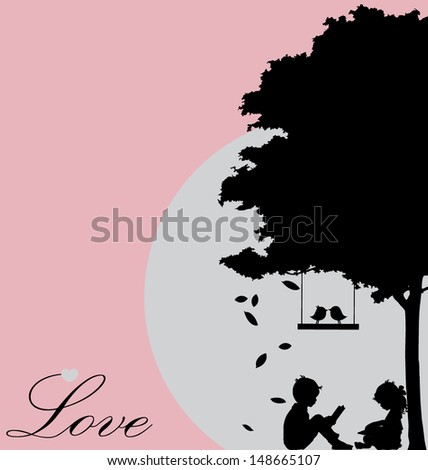 valentine background with tree