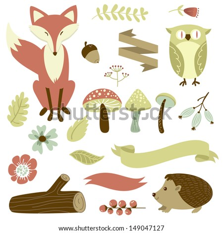 autumn forest  woodland animals