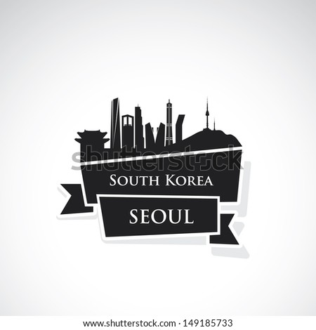 seoul ribbon banner   vector