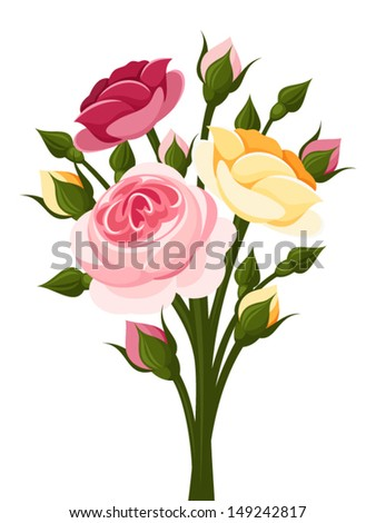 colorful roses branch vector